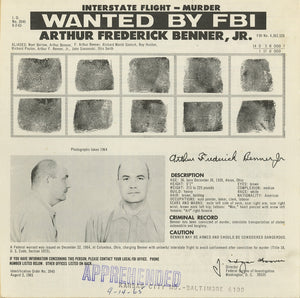 """Arthur Frederick Benner Jr."" by Mike Giant - Original Ink Illustration w Vintage Mugshot - 18 x 24"