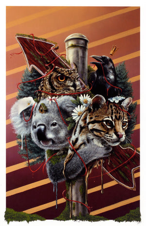 "3rd Version ""Family Is Not Blood"" - Hand-Embellished Unique Print, #5/11 - 11 x 17"""