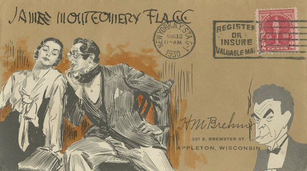 James Montgomery Flagg - Signed Custom Postal Cover