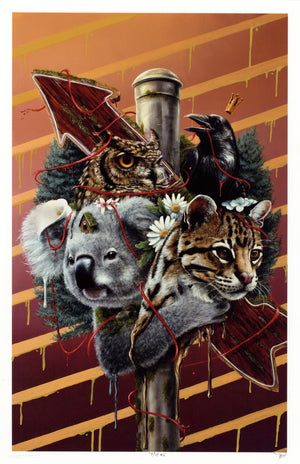 "3rd Version ""Family Is Not Blood"" - Hand-Embellished Unique Print, #7/11 - 11 x 17"""