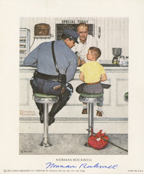 "Norman Rockwell - ""The Runaway"" - Signed Mini Print - 5 x 6"""