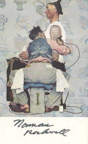 "Norman Rockwell - ""Only Skin Deep"" - Signed Postcard"