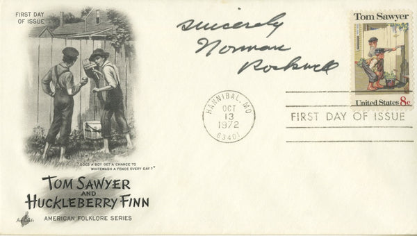 "Norman Rockwell - ""Tom Saywer & Huckleberry Finn"" Signed First Day Cover - 1972"