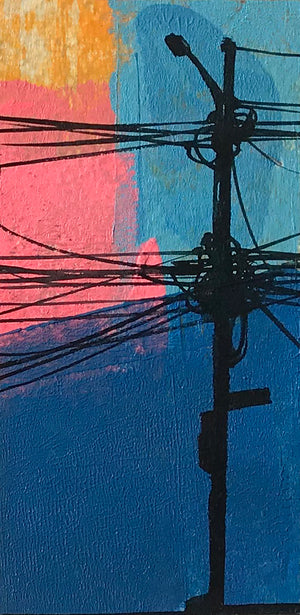 "Felipe Ortiz ""Light Post Series"" - Original Acrylic Painting - 2.5 x 5"""
