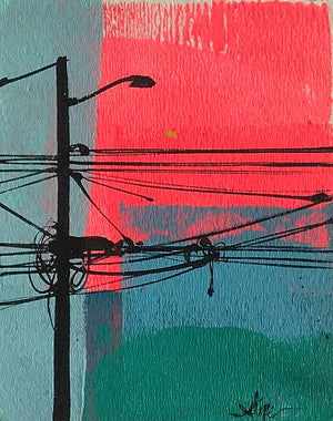 "Felipe Ortiz ""Light Post Series"" - Original Acrylic Painting - 3.5 x 5"""