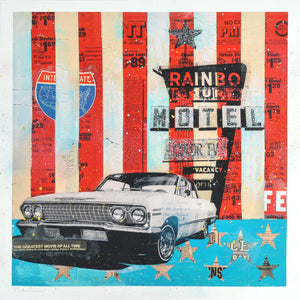 """Rainbo Motel"" by Robert Mars - Hand-Embellished Unique Print #1/2"
