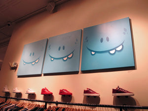 """3 Shades of Happiness"" by Evoker - Original Acrylic on Canvas, Triptych"