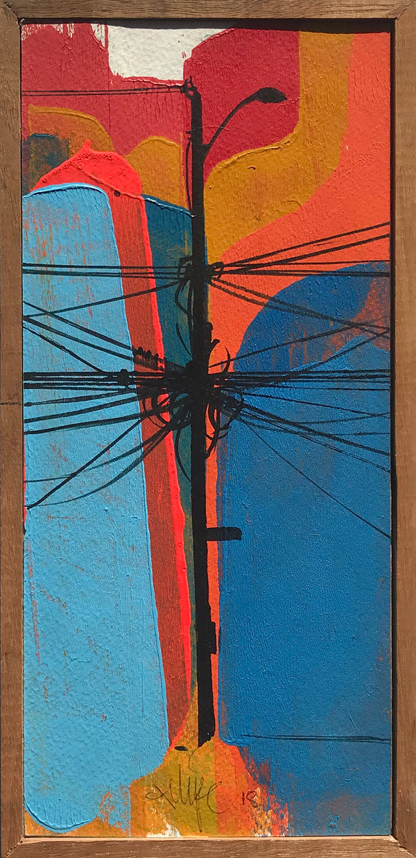 "Felipe Ortiz ""Light Post Series"" - Original Acrylic Painting - 5 x 11"""