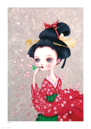"aica ""The Sound of Blooming Cherry Blossoms"" - Hand-Embellished Variant, Edition of 5 - 12 x 17"""