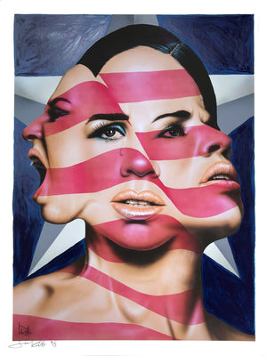 """America The Beautiful? (Blue)"" by Scott Rohlfs - Hand-Embellished Unique Variant, #3/3 - 18 x 24"""