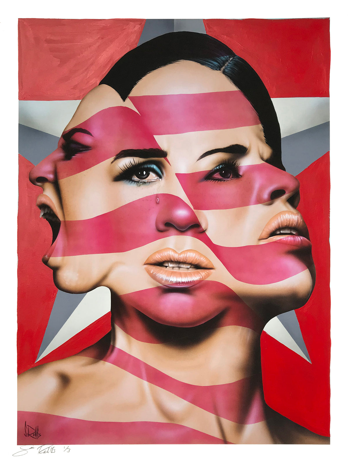 "Scott Rohlfs ""America The Beautiful? (Red)"" - Hand-Embellished Unique Variant, #1/3 - 18 x 24"""