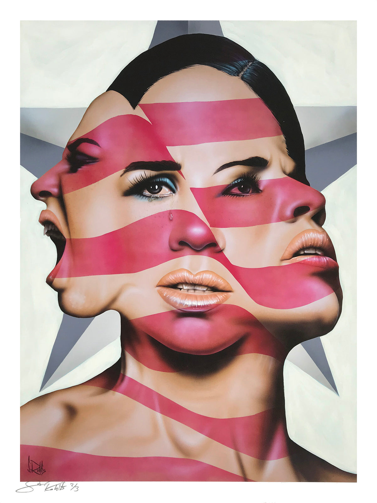 "Scott Rohlfs ""America The Beautiful? (White)"" - Hand-Embellished Unique Variant, #2/3 - 18 x 24"""