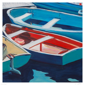 """Marblehead Boats"" by Amy Holland Crafton - Archival Print, Limited Edition of 20 - 12 x 12"""