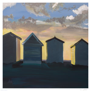 """British Beach Huts"" by Amy Holland Crafton - Archival Print, Limited Edition of 20 - 12 x 12"""