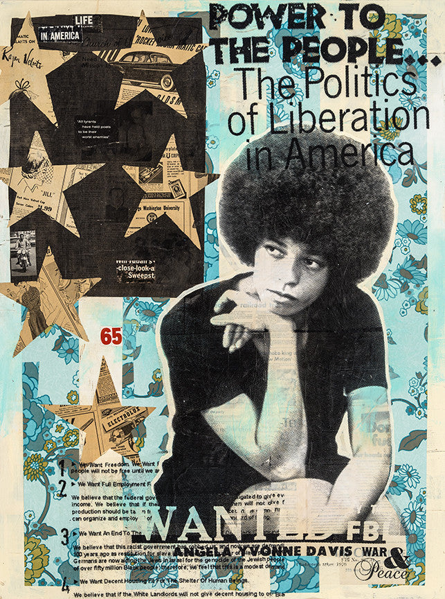 "Robert Mars ""Power to the People"" - Angela Davis - Original Mixed Media and Resin on Wood"