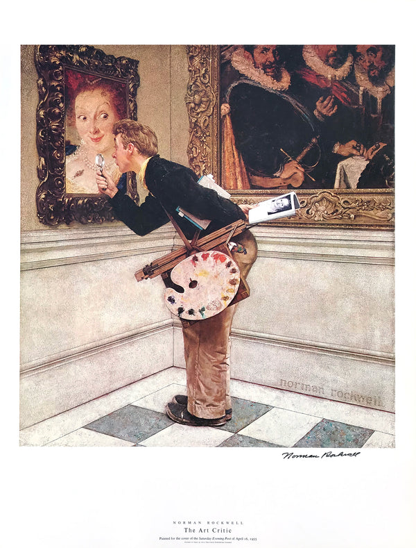"Norman Rockwell - ""The Art Critic"" - Signed Offset Print - 19 x 25"""