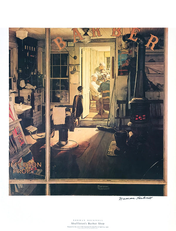 "Norman Rockwell - ""Shuffleton's Barber Shop"" - Signed Offset Print - 19 x 25"""