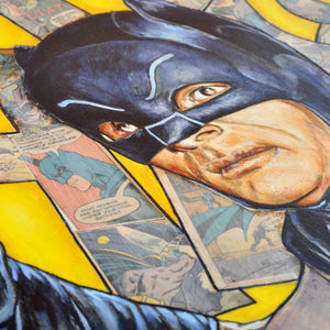 """Batman - Adam West"" by Andrew Houle - Original Oil Painting on Wood in Frame"