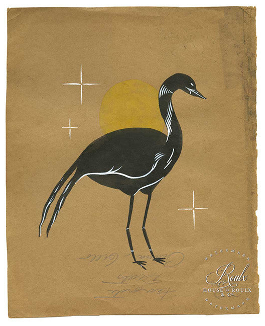 "Rich Cali ""Bird"" - Original Brushed Ink on Vintage Found Paper"