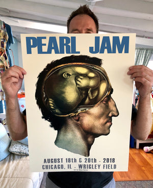 """Pearl Jam (Blue Variant)"" by Moon Patrol - 2 Color Screen Giclée Print, Artist Edition of 100 - 18 x 24"""