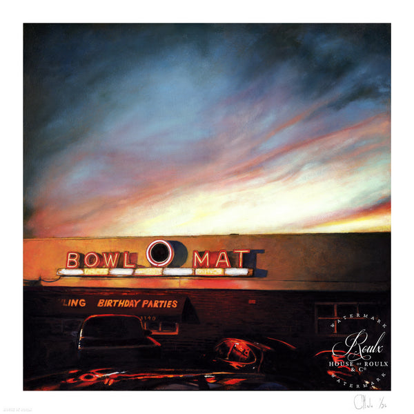 """The Bowl-O-Mat - Beverly, MA"" by Andrew Houle - 35 x 35, Archival Print"