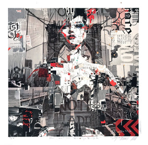 """Full Volume Brooklyn Bridge"" by Derek Gores - Hand-Embellished Unique Print, #3/3"