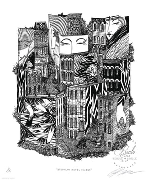 """Brooklyn Mural Village"" by Hydeon - Limited Edition, Archival Print - 14 x 17"""