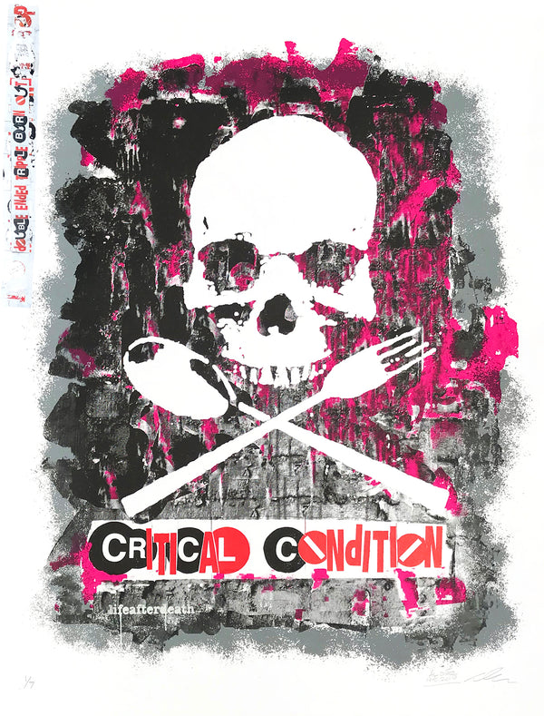 "Al Diaz and Dave Navarro ""Critical Condition"" - Hand-Embellished 4 Color Screen Print, 1 of 7 - 19 x 25"""