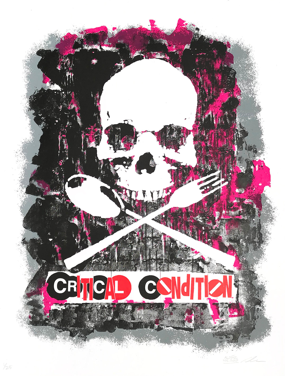 "Al Diaz and lifeafterdeath ""Critical Condition"" - 4 Color Screen Print, Limited Edition of 25 - 19 x 25"""