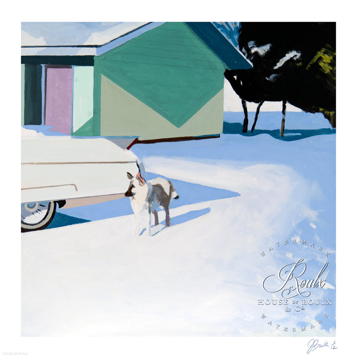 "Jessica Brilli ""Dog with Caddy"" - Archival Print, Limited Edition of 12 - 17 x 17"""