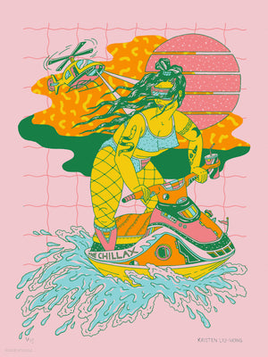 "Kristen Liu-Wong - ""Escape to Chillax (Bubblegum Variant)"" - Screen Print, Edition of 15 - 12 x 16"""