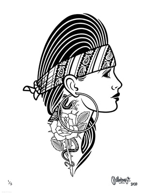 "Mike Giant ""Chola II"" - Archival Print, Limited Edition of 5 - 18 x 24"""