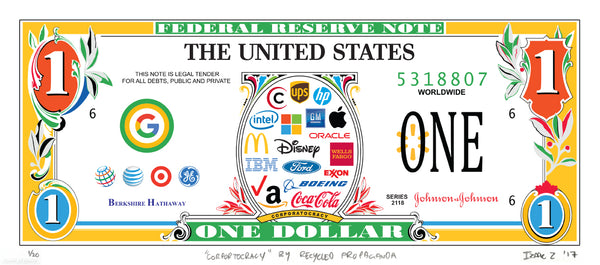 """Corportocracy"" by Recycled Propaganda - Limited Edition, Archival Print - 17 x 8"""