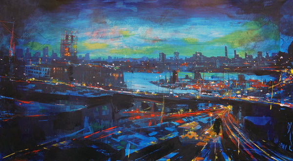 "Adam J. O'Day ""Pulaski Bridge at Sunset"" - Hand-Embellished Archival Print, Edition of 5 - 18 x 24"""