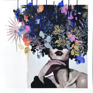 """Slip Inside My Daydream"" by Anna Kincaide - Hand-Embellished Unique Print, #2/5 - 18 x 18"""