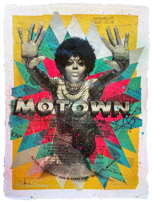 "Robert Mars ""Motown"" - Original Mixed Media Work on Paper - 18 x 24"""
