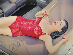 Dita Von Teese (by Star Foreman) - Signed Silver Metallic 18 x 24 Portrait