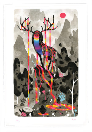 "Graham Yarrington ""Elk Deity"" - Archival Print, Limited Edition of 12 - 13 x 19"""