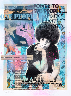 """Power to the People"" - Angela Davis by Robert Mars - HAND-EMBELLISHED UNIQUE PRINT #1/2"