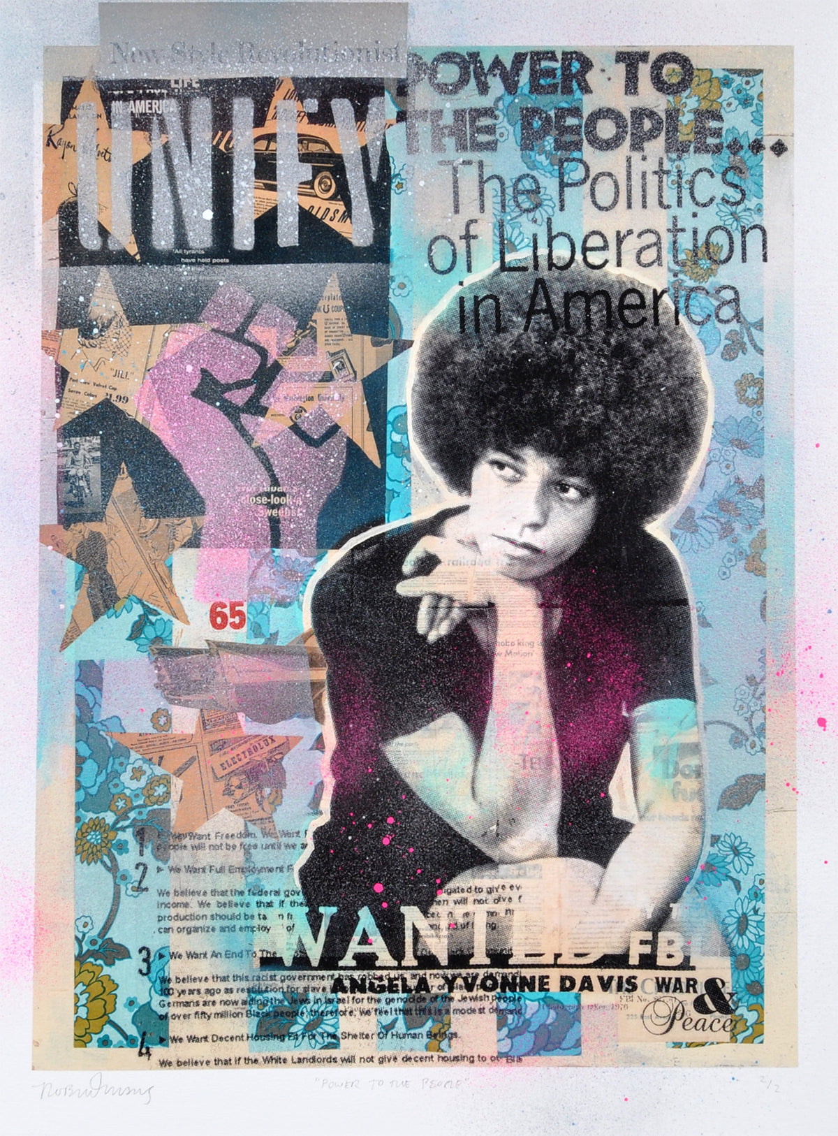 "Robert Mars ""Power to the People"" - Angela Davis - HAND-EMBELLISHED UNIQUE PRINT #2/2"