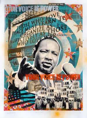"""I Am A Man"" - Martin Luther King Jr. by Robert Mars - HAND-EMBELLISHED UNIQUE PRINT #1/2"