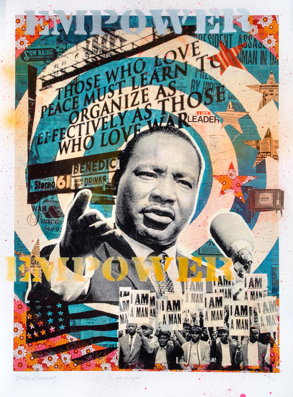 """I Am A Man"" - Martin Luther King Jr. by Robert Mars - HAND-EMBELLISHED UNIQUE PRINT #2/2"