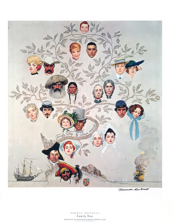 "Norman Rockwell - ""Family Tree"" - Signed Offset Print - 19 x 25"""