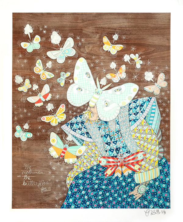 "Ferris Plock ""The Mothman & the Butterflies"" - Hand-Embellished Variant, 1 of 3 - 14 x 17"""