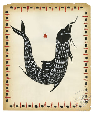 """Fish 1"" by Rich Cali - Original Brushed Ink on Vintage Found Paper"