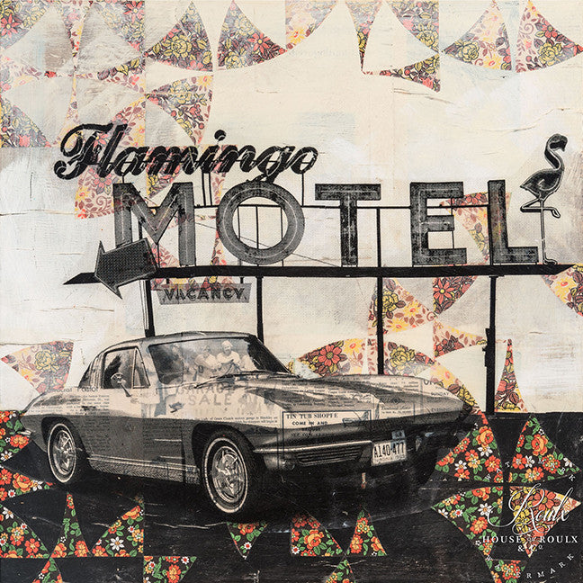 "Robert Mars ""Flamingo Motel"" - Original Mixed Media and Resin on Wood"