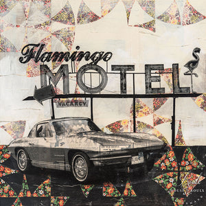 """Flamingo Motel"" by Robert Mars - Original Mixed Media and Resin on Wood"
