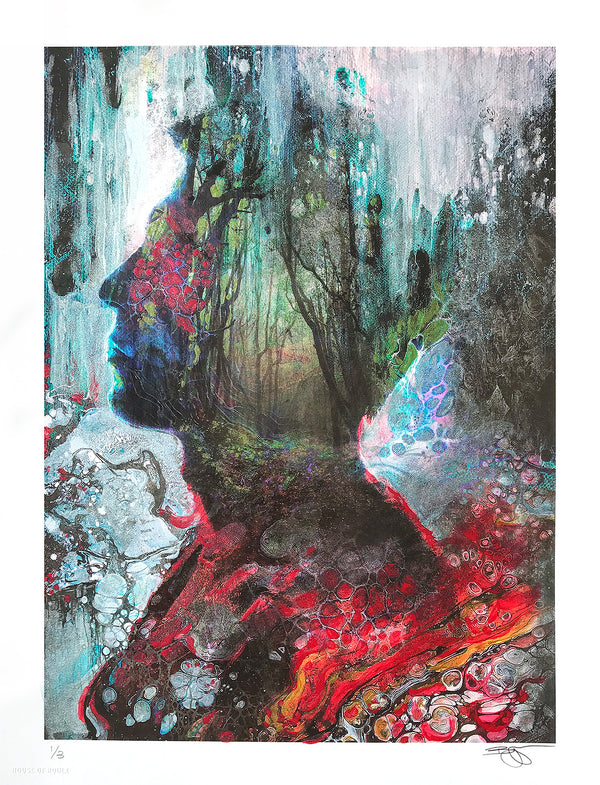 "Barrett Biggers ""Forest Flow"" - Hand-Embellished Variant, 1 of 3 - 13 x 17"""