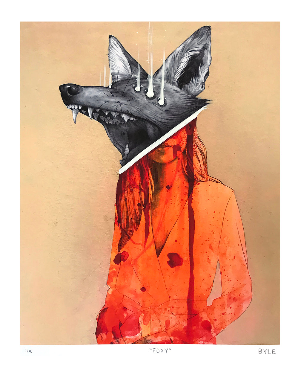 "Matt Byle ""Foxy"" - Hand-Embellished Variant, Edition of 5 - 14 x 17"""