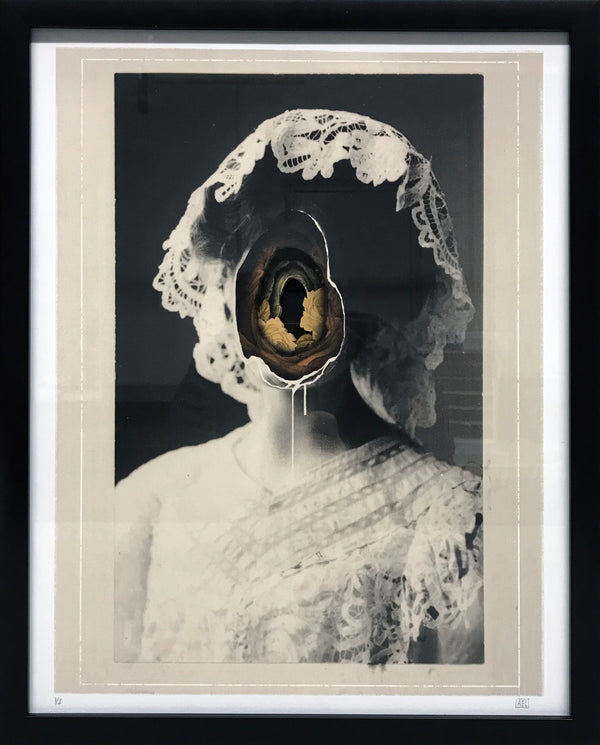 "Alex Eckman-Lawn ""Ghost"" - Hand-Cut Paper Collage in Frame - 16 x 19"